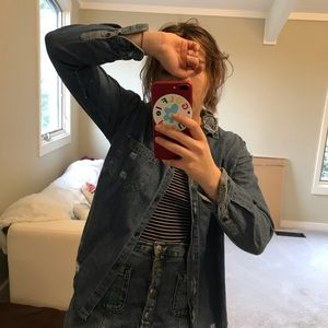 distressed light jean jacket 💙